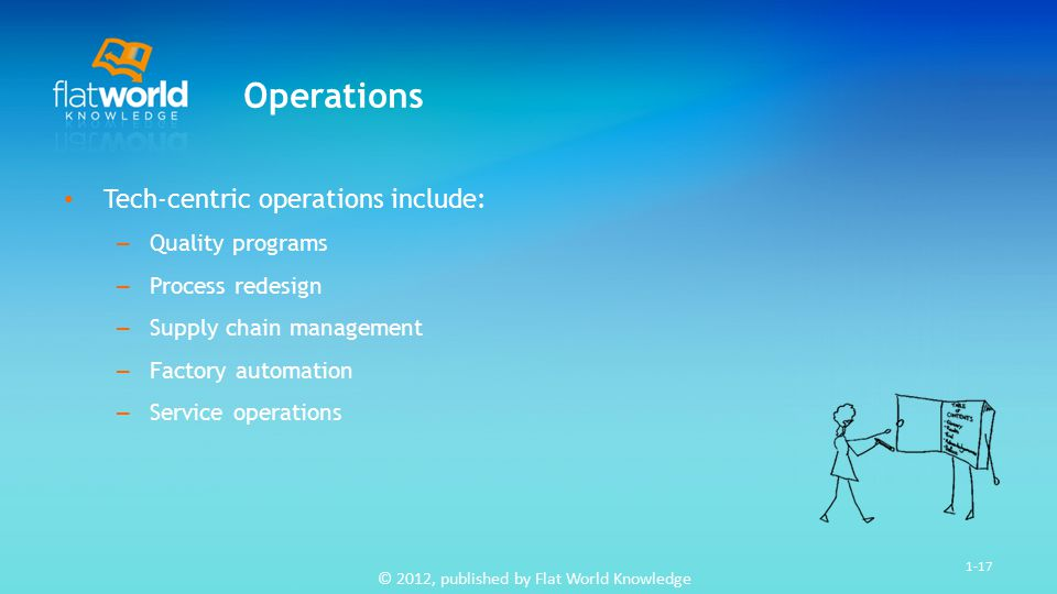 © 2012, published by Flat World Knowledge 1-17 Operations Tech-centric operations include: – Quality programs – Process redesign – Supply chain management – Factory automation – Service operations