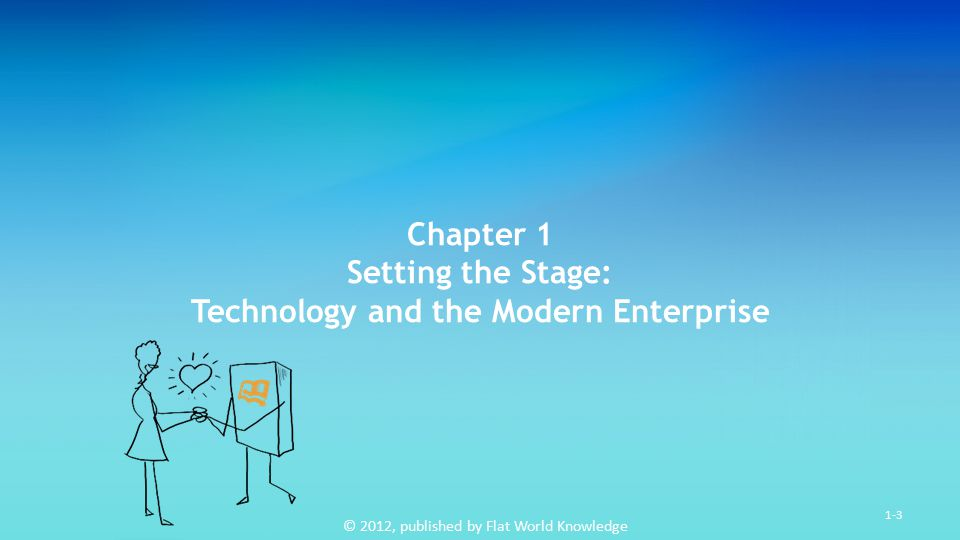 © 2012, published by Flat World Knowledge 1-3 Chapter 1 Setting the Stage: Technology and the Modern Enterprise