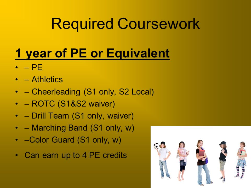 Required Coursework 1 year of PE or Equivalent – PE – Athletics – Cheerleading (S1 only, S2 Local) – ROTC (S1&S2 waiver) – Drill Team (S1 only, waiver
