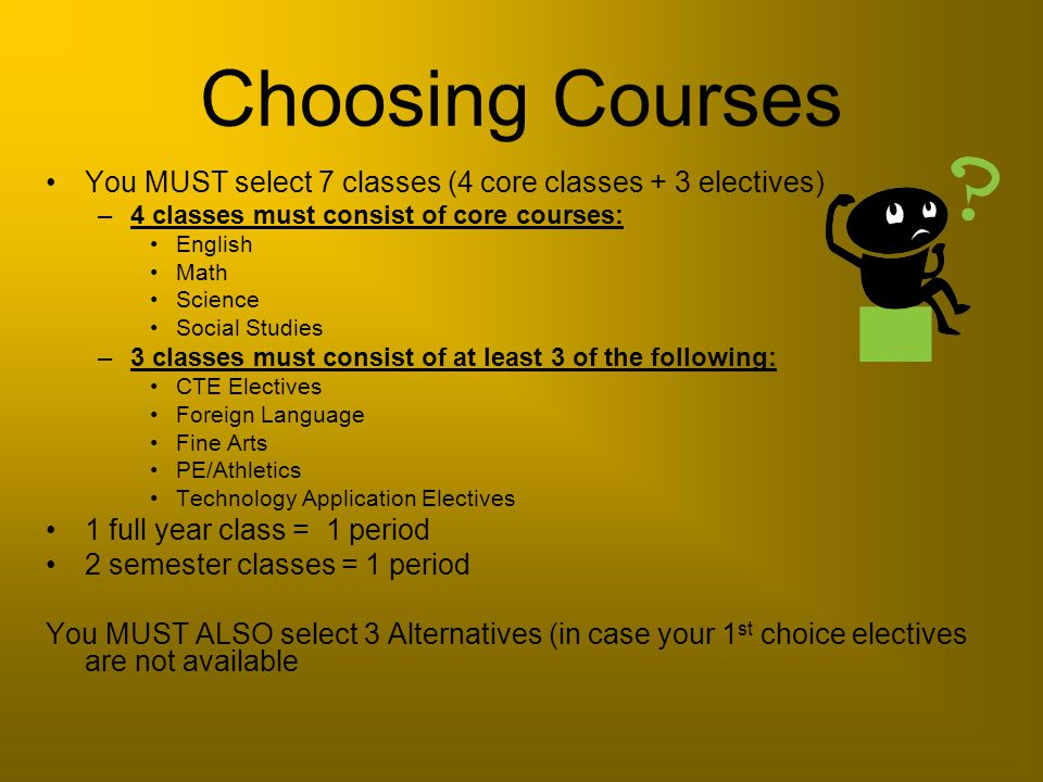 Choosing Courses You MUST select 7 classes (4 core classes + 3 electives) –4 classes must consist of core courses: English Math Science Social Studies