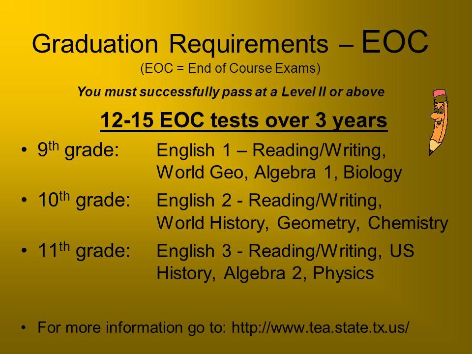12-15 EOC tests over 3 years 9 th grade: English 1 – Reading/Writing, World Geo, Algebra 1, Biology 10 th grade: English 2 - Reading/Writing, World Hi
