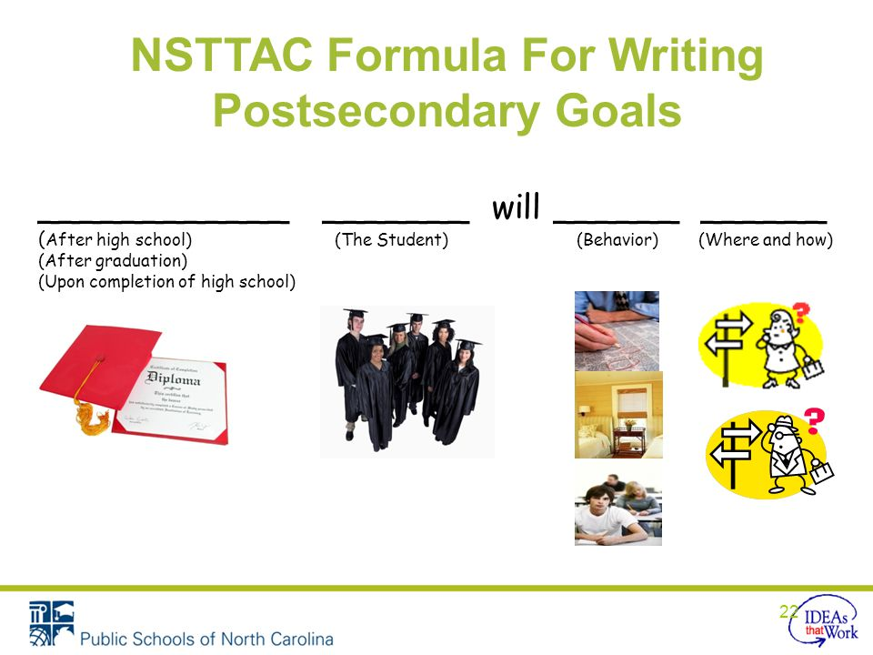 NSTTAC Formula For Writing Postsecondary Goals ____________ _______ will ______ ______ ( After high school) (The Student) (Behavior) (Where and how) (After graduation) (Upon completion of high school) 22