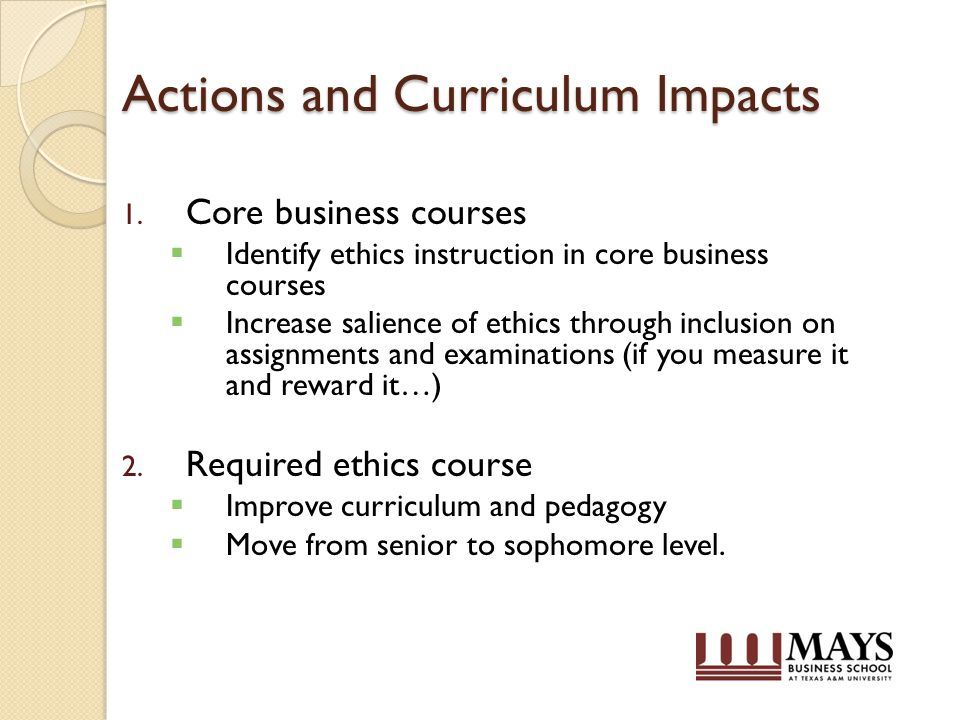 Actions and Curriculum Impacts 1.