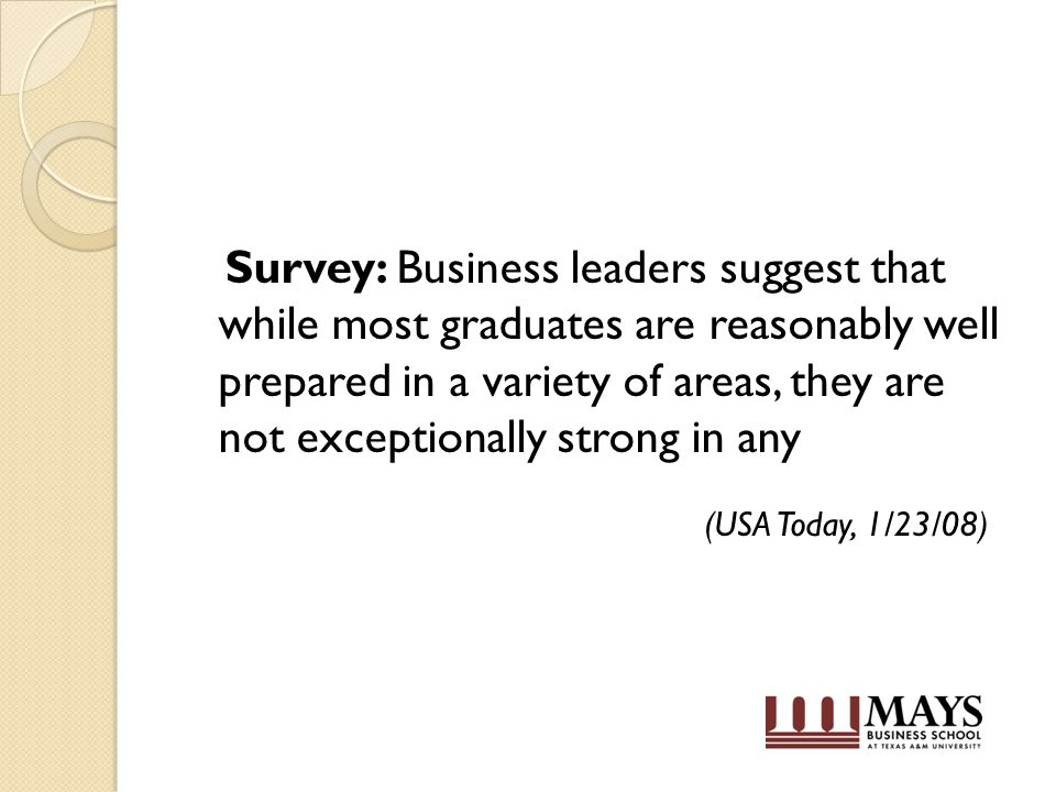 Survey: Business leaders suggest that while most graduates are reasonably well prepared in a variety of areas, they are not exceptionally strong in any (USA Today, 1/23/08)