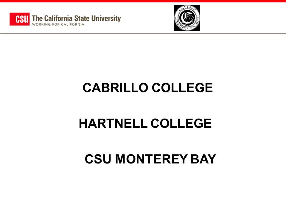 CABRILLO COLLEGE HARTNELL COLLEGE CSU MONTEREY BAY