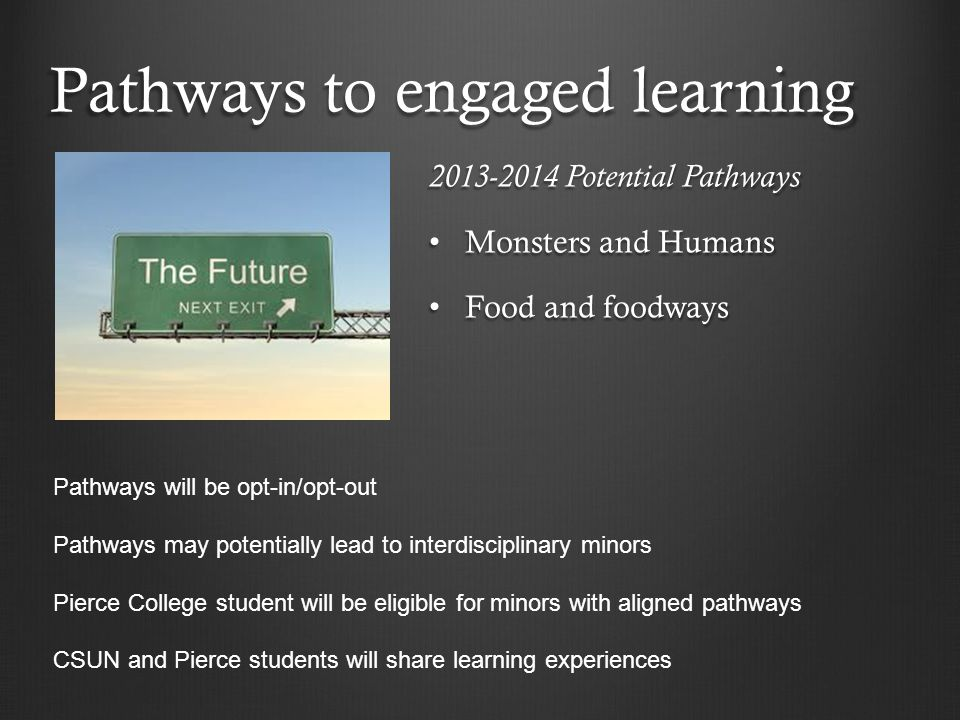 Pathways to engaged learning 2013-2014 Potential Pathways Monsters and Humans Monsters and Humans Food and foodways Food and foodways Pathways will be opt-in/opt-out Pathways may potentially lead to interdisciplinary minors Pierce College student will be eligible for minors with aligned pathways CSUN and Pierce students will share learning experiences