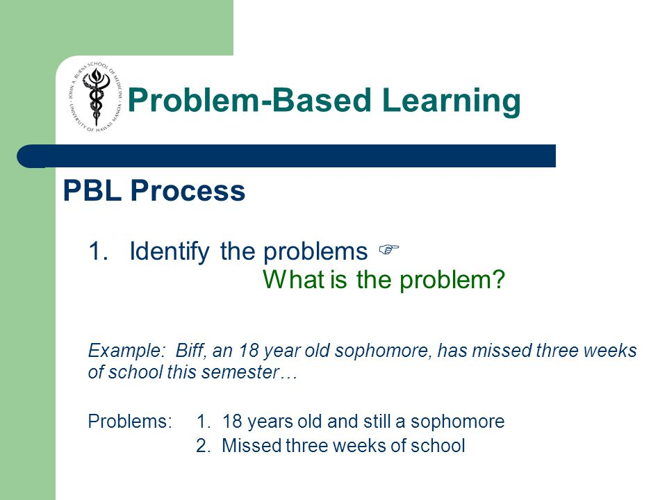 PBL Process 1.Identify the problems  What is the problem.