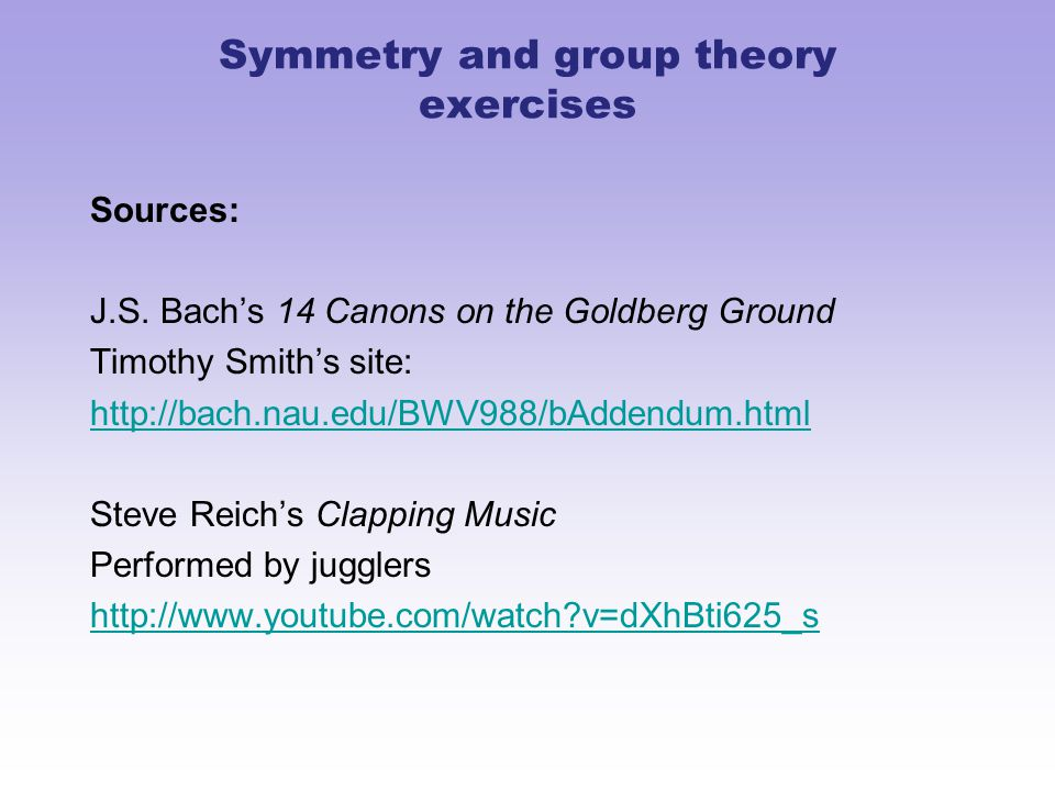Symmetry and group theory exercises Sources: J.S.