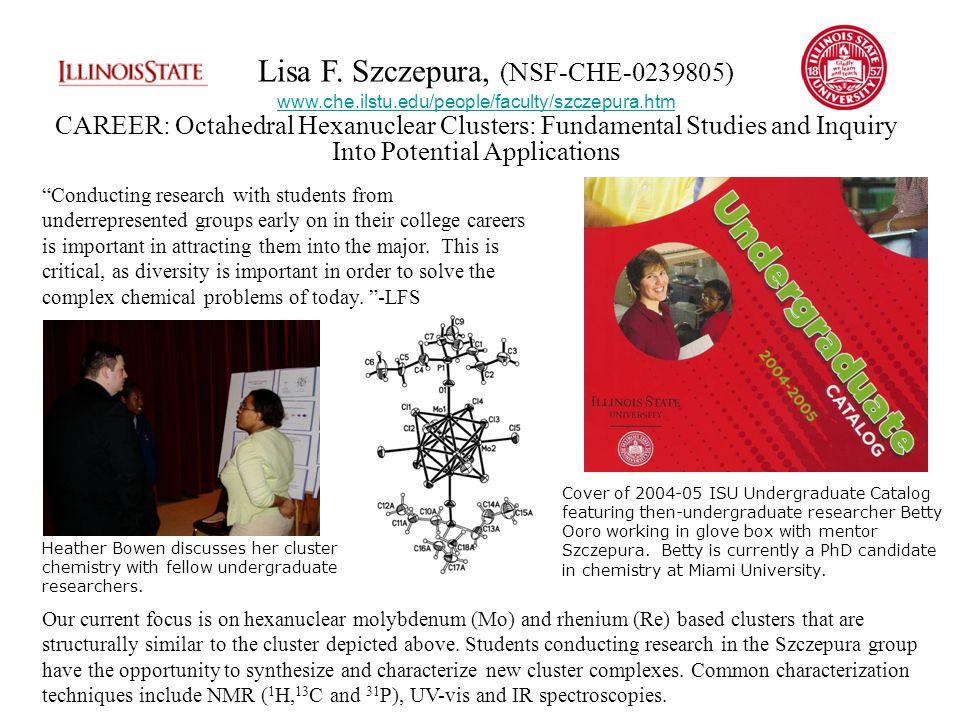Cover of 2004-05 ISU Undergraduate Catalog featuring then-undergraduate researcher Betty Ooro working in glove box with mentor Szczepura.