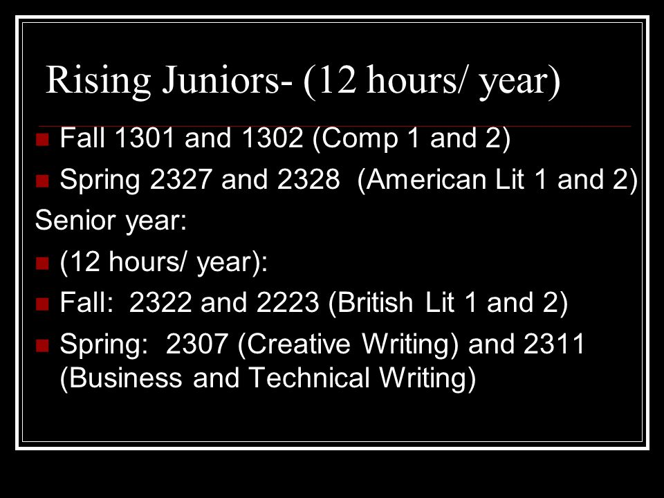 Rising Juniors- (12 hours/ year) Fall 1301 and 1302 (Comp 1 and 2) Spring 2327 and 2328 (American Lit 1 and 2) Senior year: (12 hours/ year): Fall: 2322 and 2223 (British Lit 1 and 2) Spring: 2307 (Creative Writing) and 2311 (Business and Technical Writing)