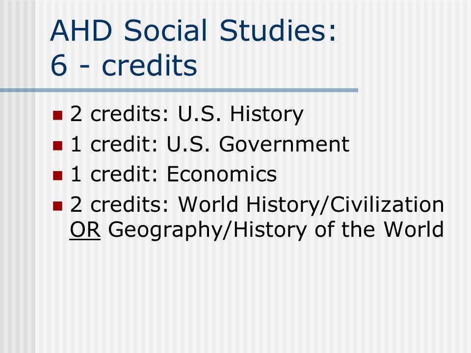 AHD Social Studies: 6 - credits 2 credits: U.S. History 1 credit: U.S.