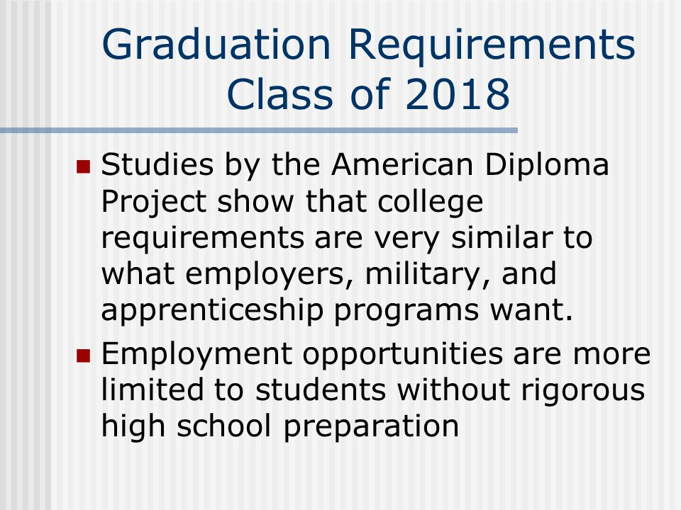 Graduation Requirements Class of 2018 Studies by the American Diploma Project show that college requirements are very similar to what employers, military, and apprenticeship programs want.