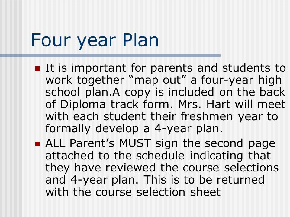 Four year Plan It is important for parents and students to work together map out a four-year high school plan.A copy is included on the back of Diploma track form.