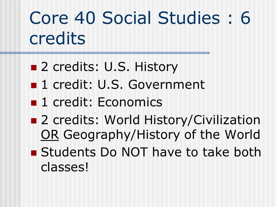 Core 40 Social Studies : 6 credits 2 credits: U.S.