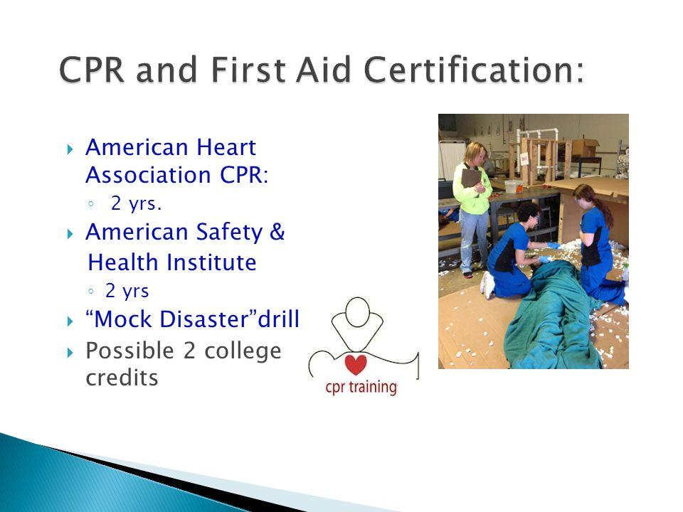  American Heart Association CPR: ◦ 2 yrs.