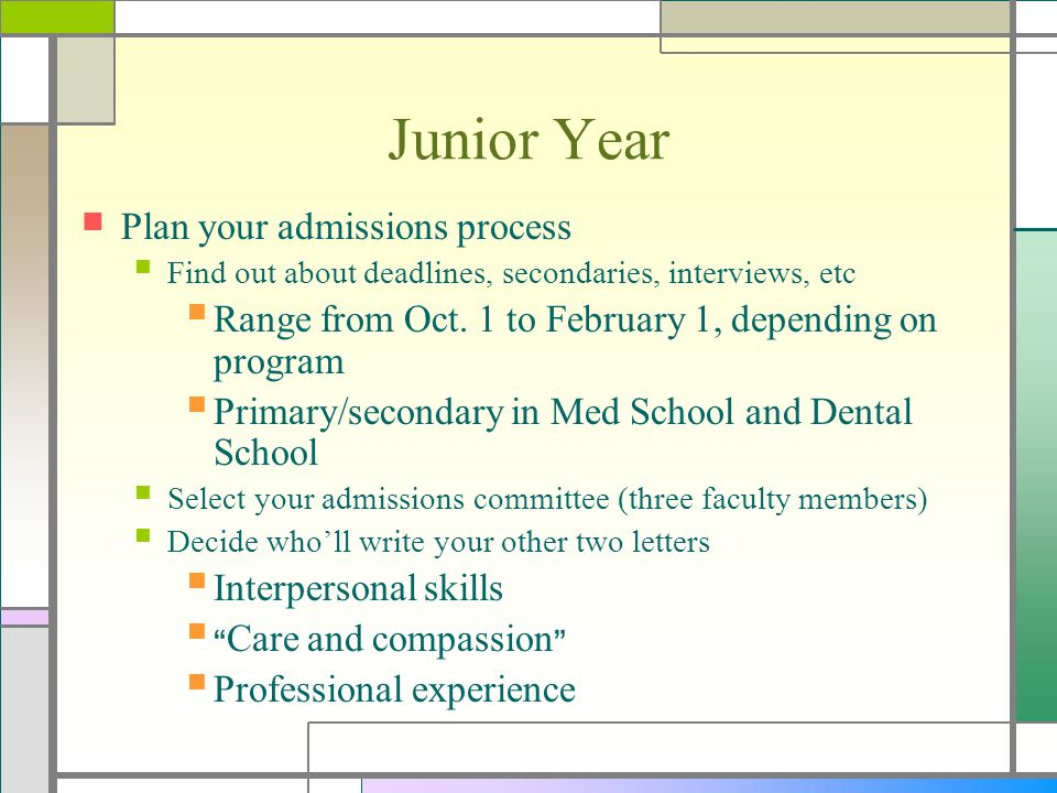 Junior Year Plan your admissions process Find out about deadlines, secondaries, interviews, etc Range from Oct. 1 to February 1, depending on program