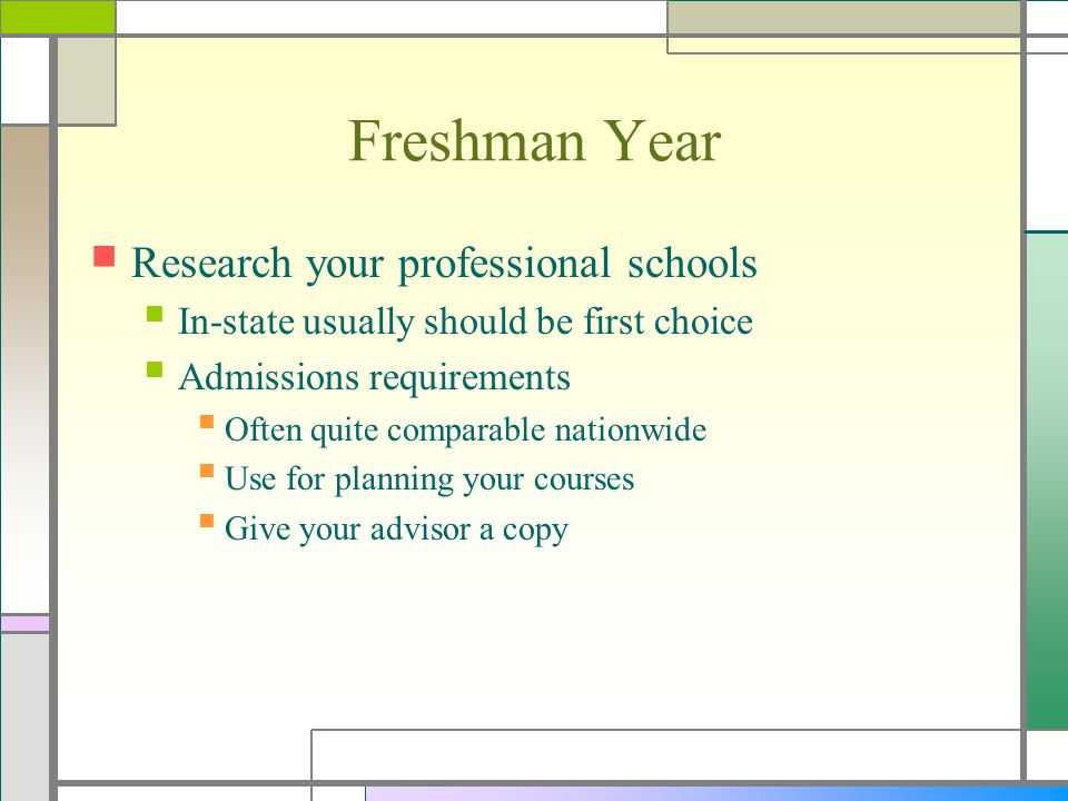 Sophomore Year Continue the tasks you began last year Research your admissions test(s) Begin a systematic study plan for those tests Find a summer internship/research opportunity Research your admissions process