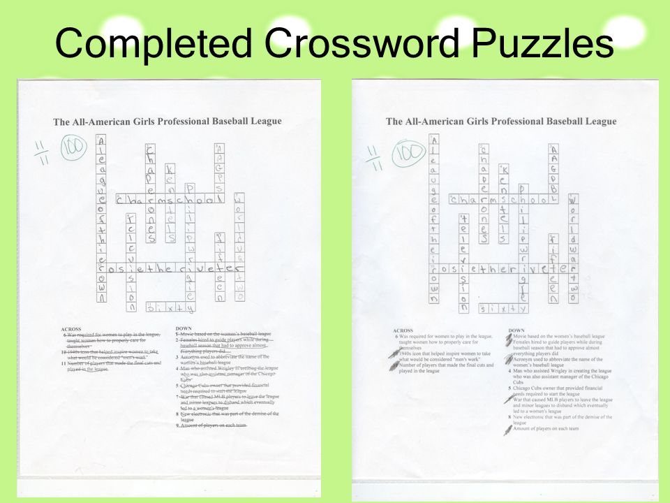 Completed Crossword Puzzles