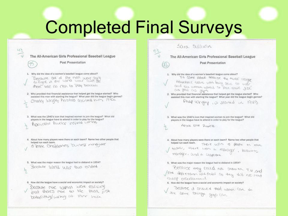 Completed Final Surveys