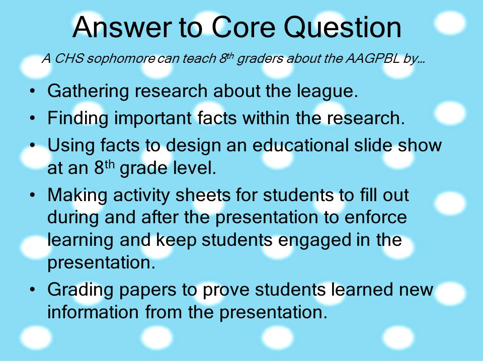 Answer to Core Question Gathering research about the league. Finding important facts within the research. Using facts to design an educational slide s