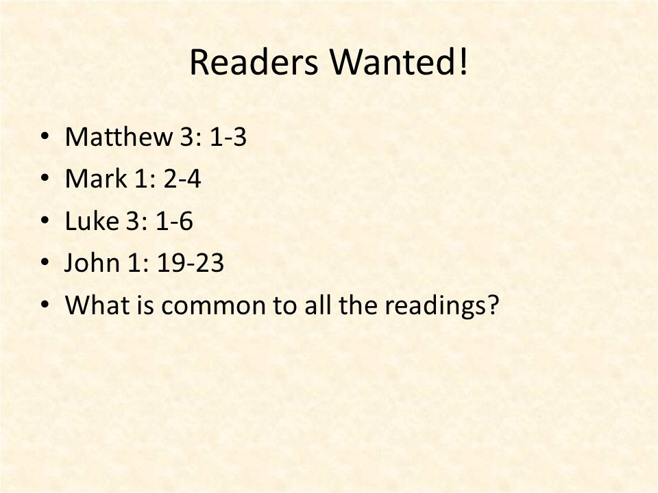 Readers Wanted.
