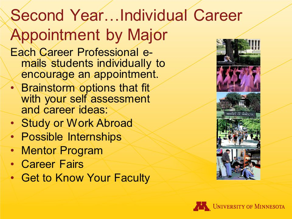 Second Year…Individual Career Appointment by Major Each Career Professional e- mails students individually to encourage an appointment.