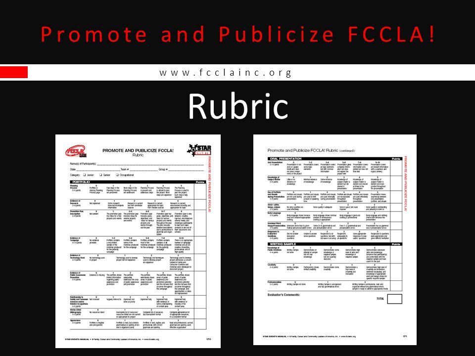 www.fcclainc.org Promote and Publicize FCCLA! Rubric