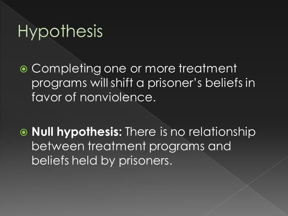  Completing one or more treatment programs will shift a prisoner's beliefs in favor of nonviolence.