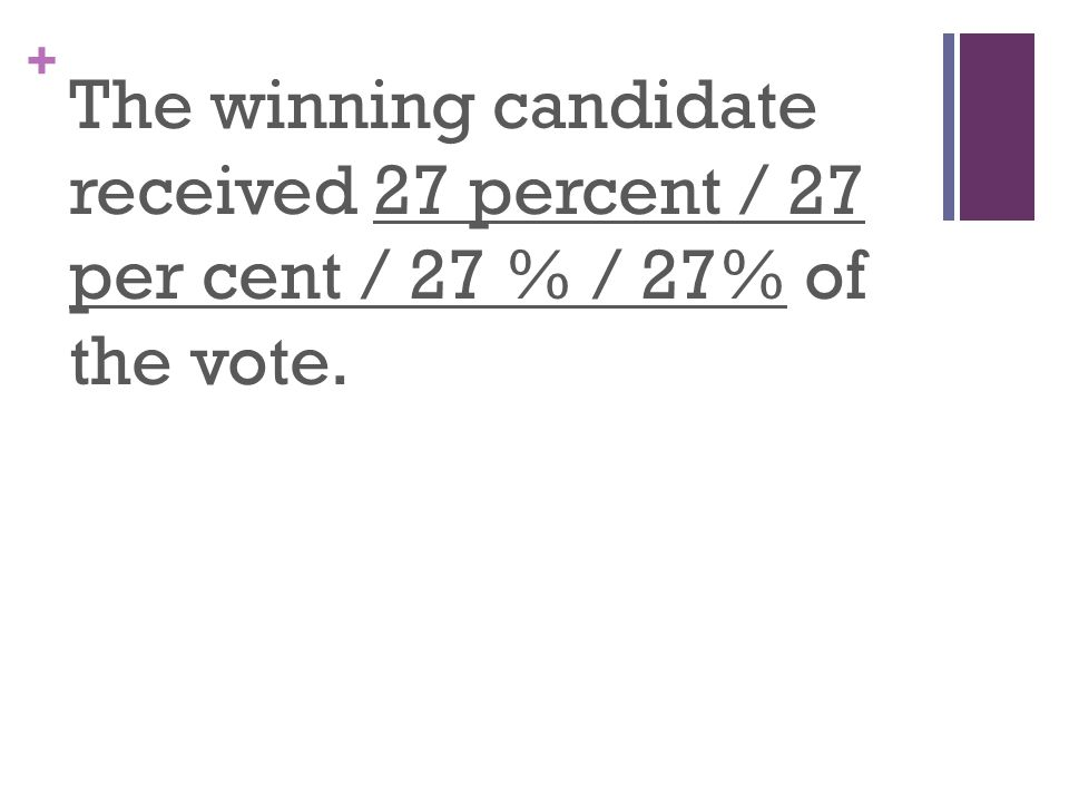 + The winning candidate received 27 percent / 27 per cent / 27 % / 27% of the vote.
