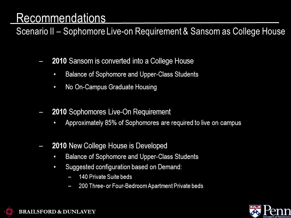 BRAILSFORD & DUNLAVEY – 2010 Sansom is converted into a College House Balance of Sophomore and Upper-Class Students No On-Campus Graduate Housing – 2010 Sophomores Live-On Requirement Approximately 85% of Sophomores are required to live on campus – 2010 New College House is Developed Balance of Sophomore and Upper-Class Students Suggested configuration based on Demand: –140 Private Suite beds –200 Three- or Four-Bedroom Apartment Private beds Recommendations Scenario II – Sophomore Live-on Requirement & Sansom as College House