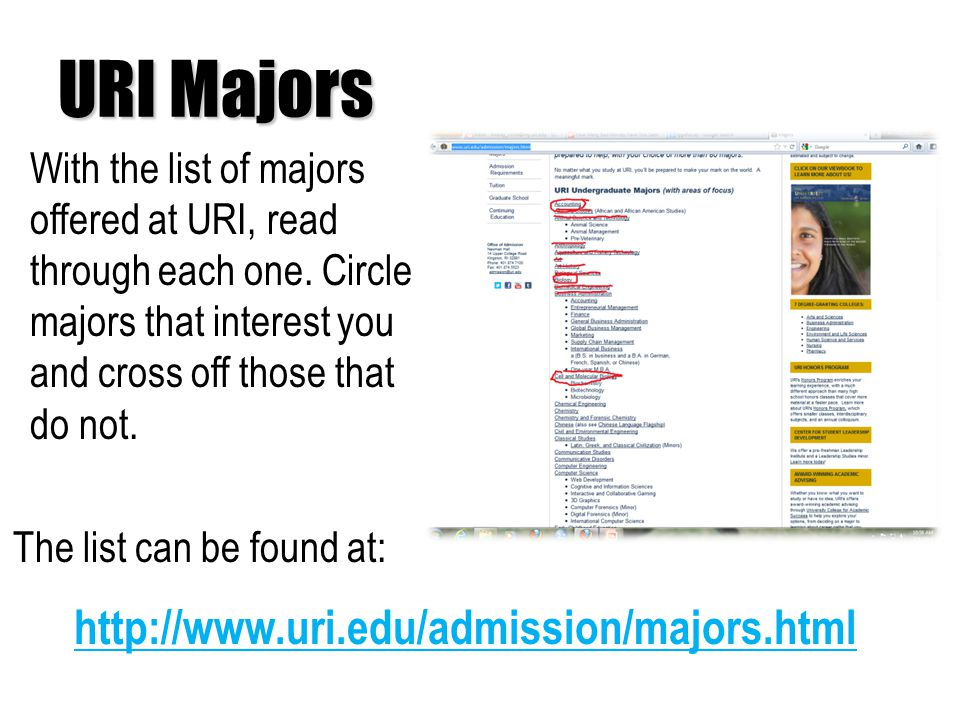 URI Majors With the list of majors offered at URI, read through each one.