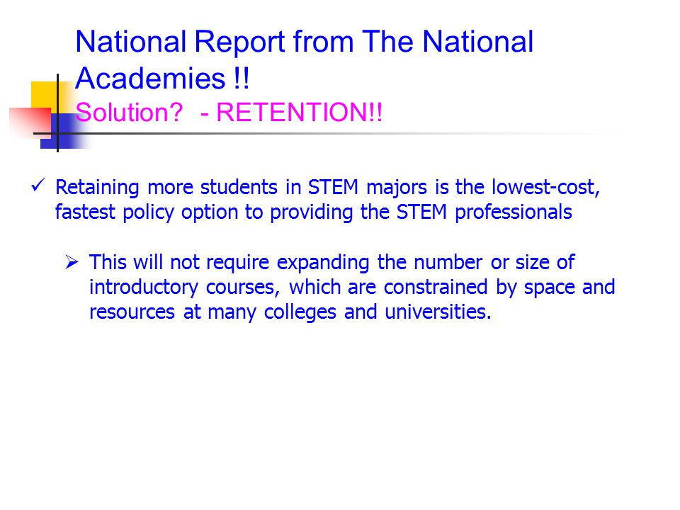 National Report from The National Academies !.Solution.