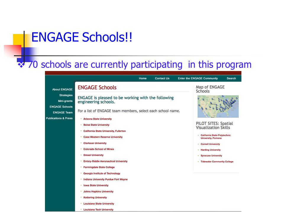  70 schools are currently participating in this program ENGAGE Schools!!