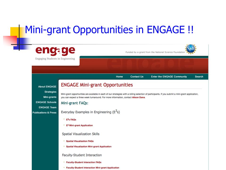 Mini-grant Opportunities in ENGAGE !!