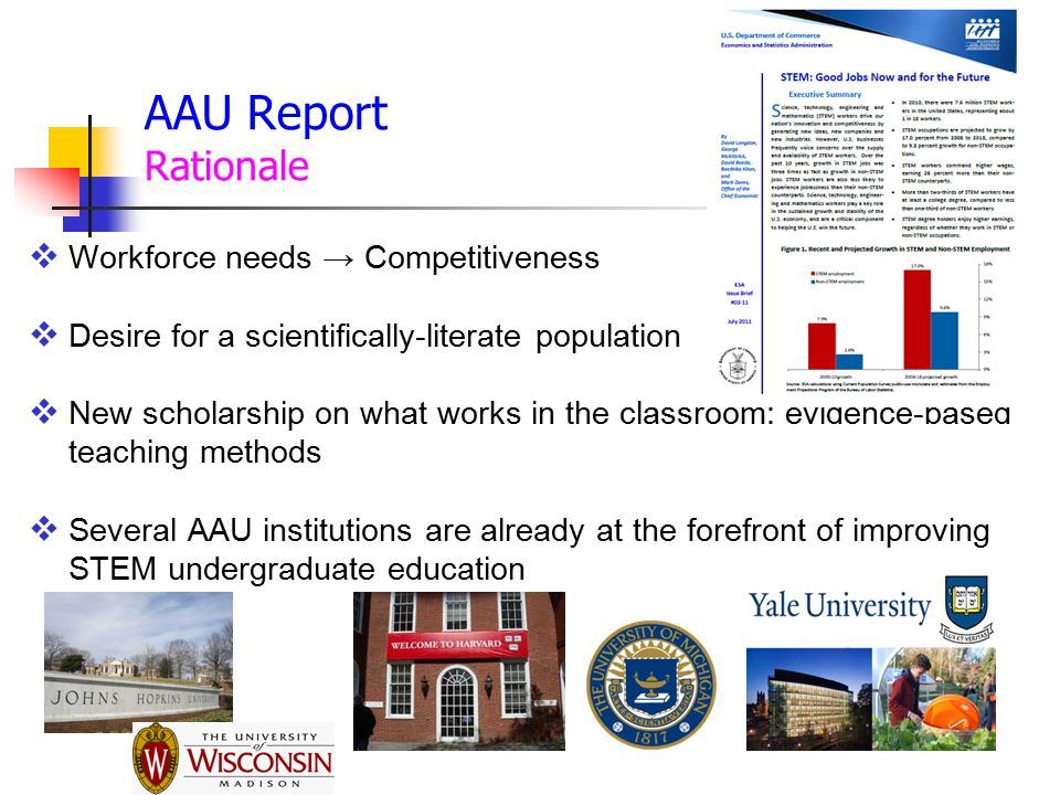 Workforce needs → Competitiveness  Desire for a scientifically-literate population  New scholarship on what works in the classroom: evidence-based teaching methods  Several AAU institutions are already at the forefront of improving STEM undergraduate education AAU Report Rationale
