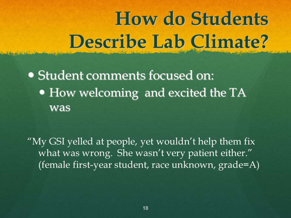 Student comments focused on: Student comments focused on: How welcoming and excited the TA was How welcoming and excited the TA was My GSI yelled at people, yet wouldn't help them fix what was wrong.