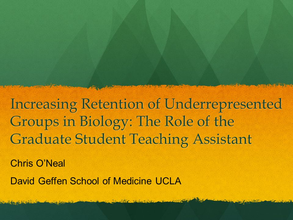 Increasing Retention of Underrepresented Groups in Biology: The Role of the Graduate Student Teaching Assistant Chris O'Neal David Geffen School of Medicine UCLA
