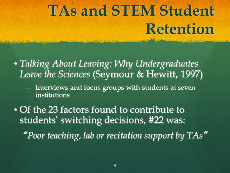 Why Look at the TA as a Factor in Science Retention.