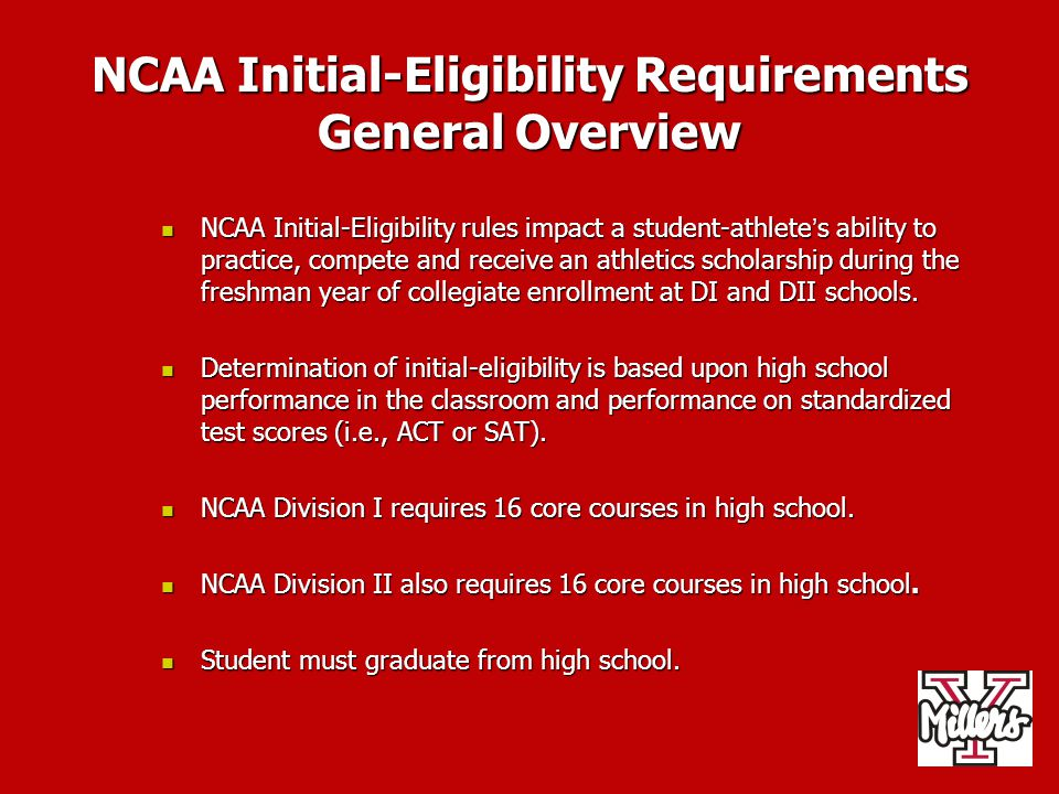 NCAA Eligibility Center Registration Process NCAA Eligibility Center registration must be completed before a prospect can take an official paid visit to a Division I campus.