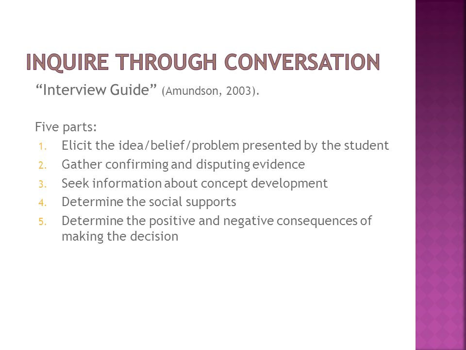 """Interview Guide"" (Amundson, 2003). Five parts: 1. Elicit the idea/belief/problem presented by the student 2. Gather confirming and disputing evidence"