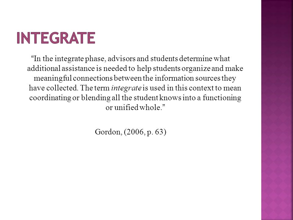 """In the integrate phase, advisors and students determine what additional assistance is needed to help students organize and make meaningful connection"