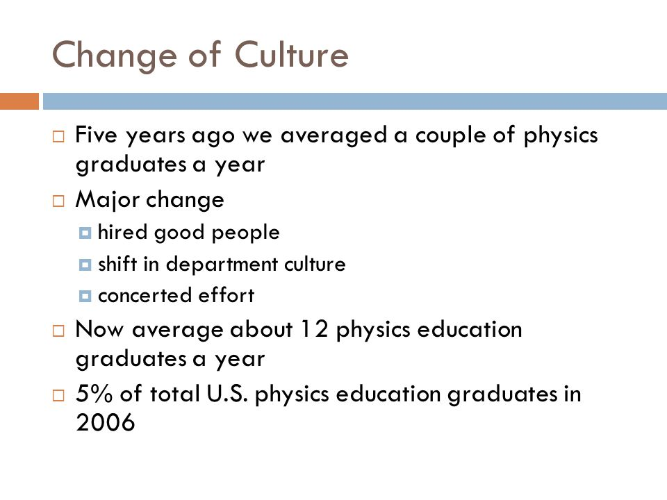 Change of Culture  Five years ago we averaged a couple of physics graduates a year  Major change  hired good people  shift in department culture  concerted effort  Now average about 12 physics education graduates a year  5% of total U.S.