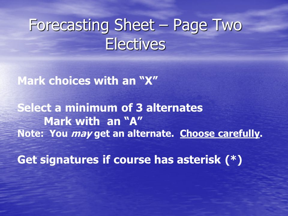 Forecast Process 1. Receive forecast sheet from teacher 2.