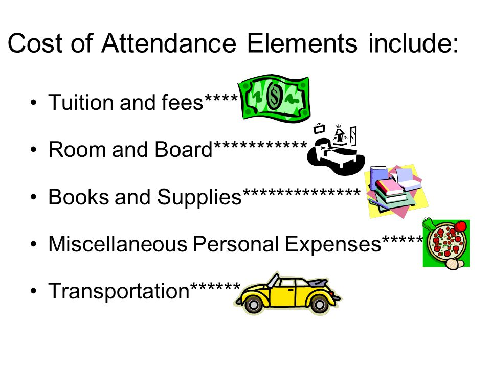 Cost of Attendance Elements include: Tuition and fees**** Room and Board*********** Books and Supplies************** Miscellaneous Personal Expenses**