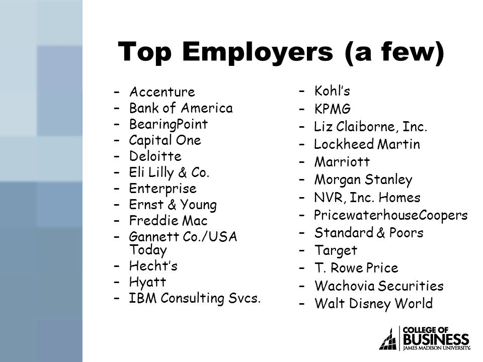Top Employers (a few) –Accenture –Bank of America –BearingPoint –Capital One –Deloitte –Eli Lilly & Co.