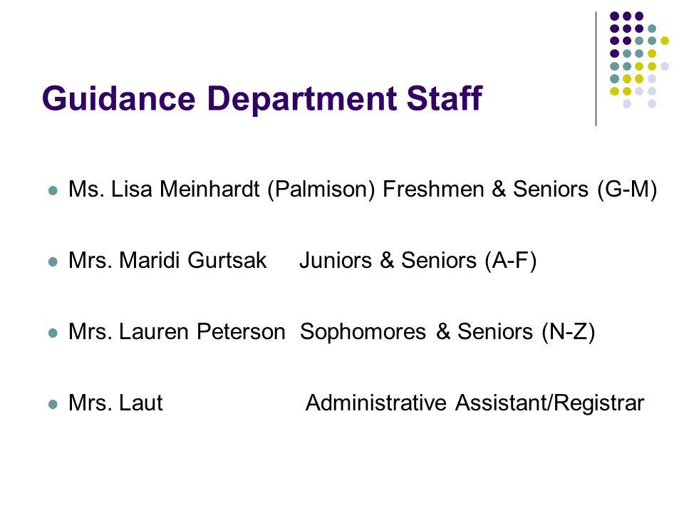 Ms. Lisa Meinhardt (Palmison) Freshmen & Seniors (G-M) Mrs.