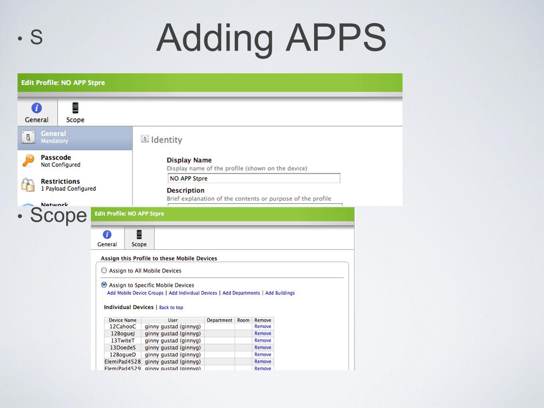 Adding APPS S Scope