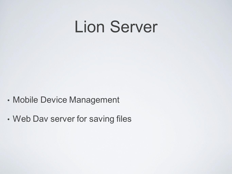 Lion Server Mobile Device Management Web Dav server for saving files