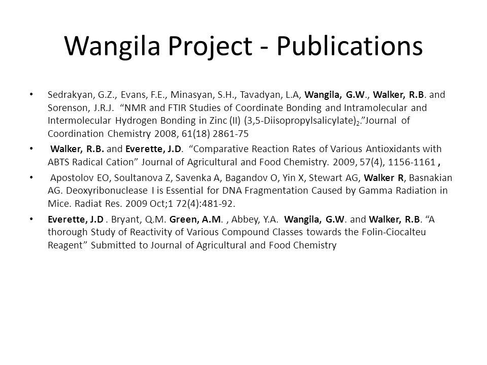 Wangila Project - Publications Sedrakyan, G.Z., Evans, F.E., Minasyan, S.H., Tavadyan, L.A, Wangila, G.W., Walker, R.B.