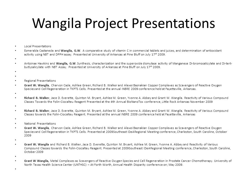 Wangila Project Presentations Local Presentations Esmeralda Castaneda and Wangila, G.W.